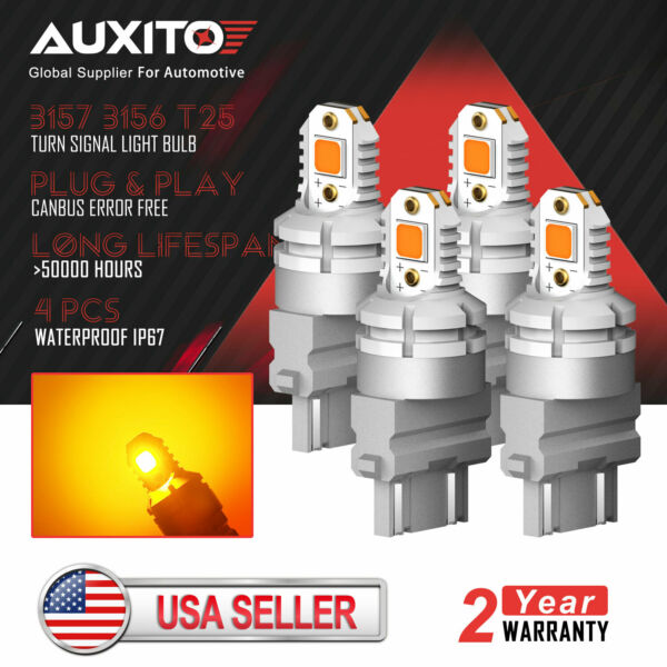 4x AUXITO 3157 3156 Amber Yellow LED Turn Signal Light Bulb Canbus Error Free