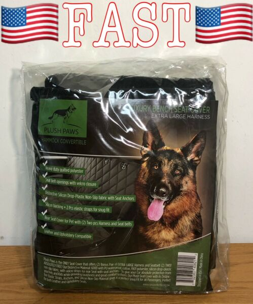 Plush Paws Products Hammock Car Seat Cover with Pet Harnesses XL Black NEW $89.90