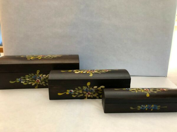 Vintage Hand Painted Set of 3 Nested Domed Wooden Boxes – Honduras