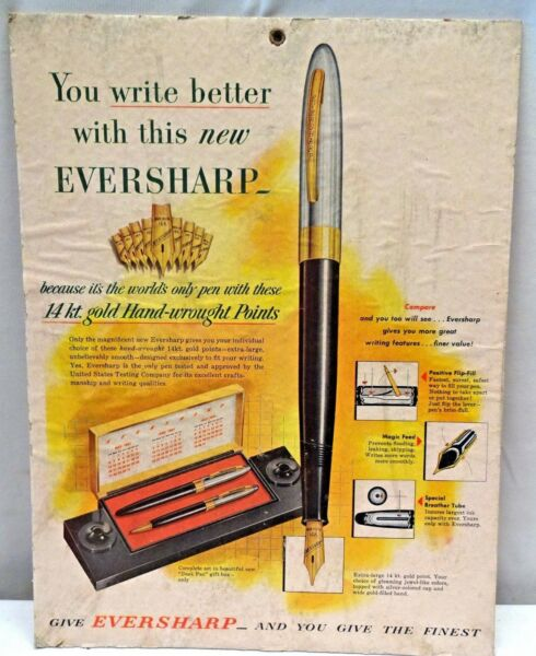 EVERSHARP FOUNTAIN PEN VINTAGE ADVERTISING SIGN CARDBOARD RARE COLLECTIBLES