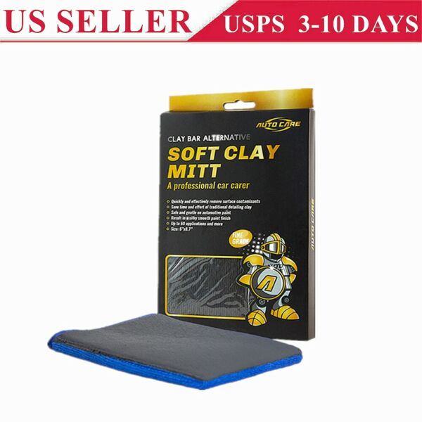 Microfiber Clay Glove Mitt Car Care Cleaning Faster Than Clay Bar Towel Cloth US