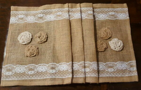 Burlap Table Runner Lace Trim and Rose Accents 36x14 Inch