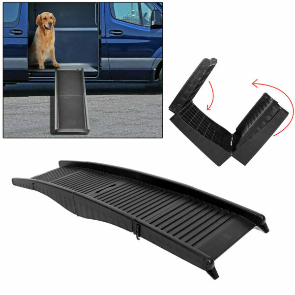 60quot; Foldable Dog Pet Ramp for Car Truck SUV Backseat Stair Steps Travel Ladder