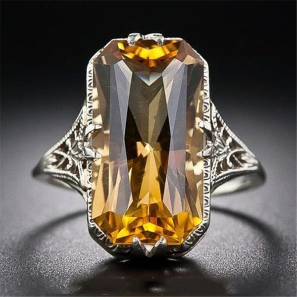 Womens Antique Vintage Cocktail Ring Yellow Citrine Gemstone 925 Sterling Silver
