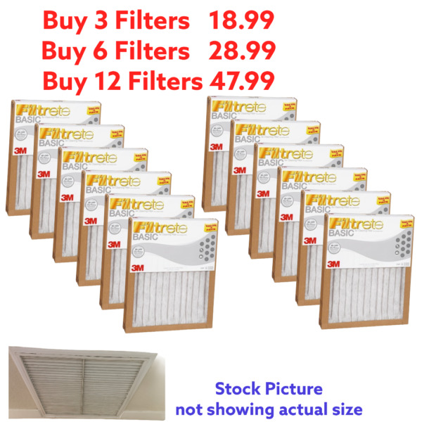 3M Filtrete™ Basic Air Filter Pleated Furnace Replacement Dust Pack 3 6 12 PC $47.99