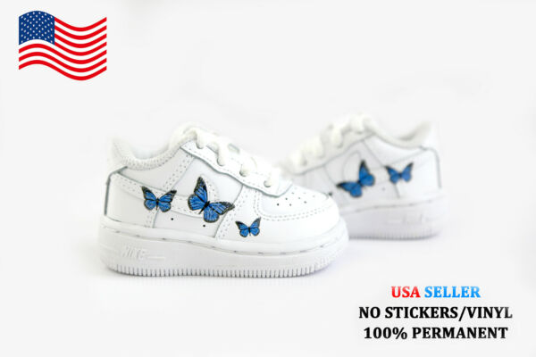 Baby Toddler Custom Air Force 1 One Shoes Blue Butterfly Sneakers Kids Nikes USA