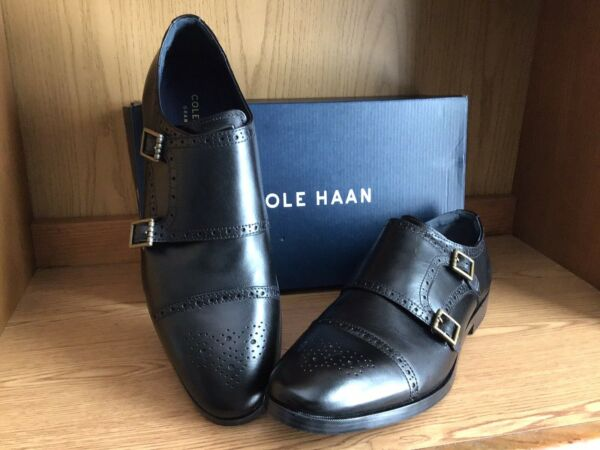 Cole Haan Jefferson Grand Double Monk Strap Shoe Men Black Size 13 C26166 $129.99