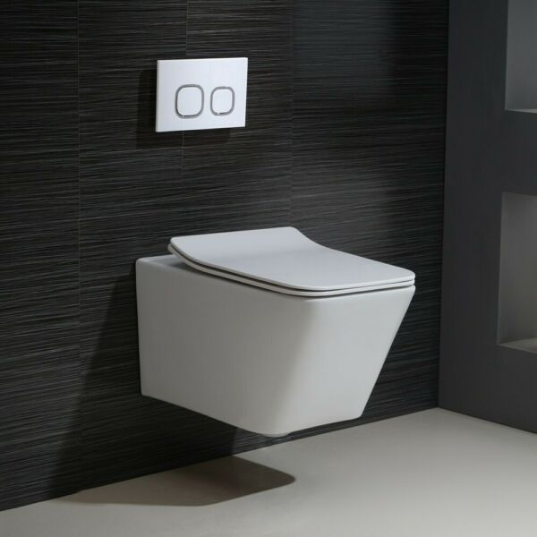 Elongated Dual Flush Wall-Hung Toilet Slow Seat 2X6 In-Wall Tank
