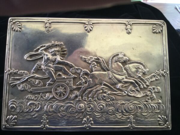 German  SOLID Silver antique Cigar box With SUN GOD APOLLO in chariot