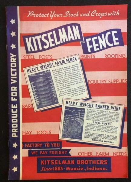 Kitselman Brothers Fence Vintage Catalog Includes Return Envelope amp; Order Blank