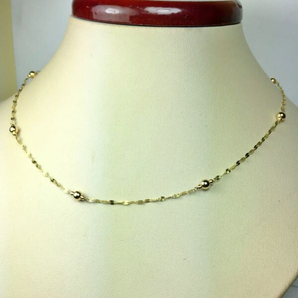14k solid yellow gold 20#x27;#x27; star link sparkly nice station necklace 1.4 grams $87.00
