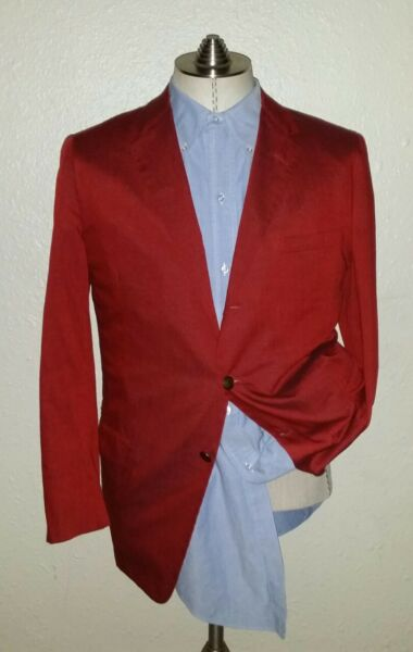 Vintage 38S SAKS FIFTH AVENUE Red Slubs Gold Buttons Blazer Jacket Sport Coat