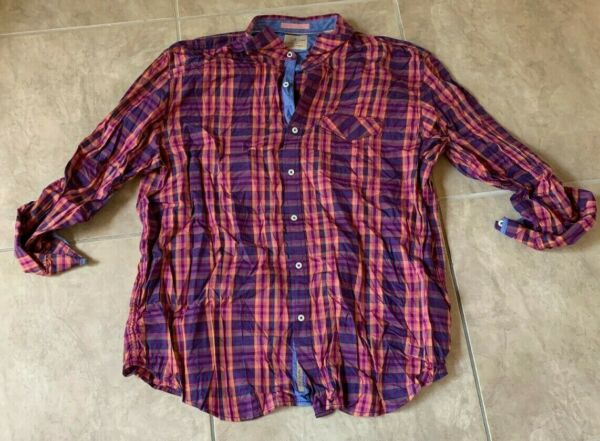 Tommy Blue amp; Purple Plaid Long Sleeve Button Down Collared Shirt XXL $24.95