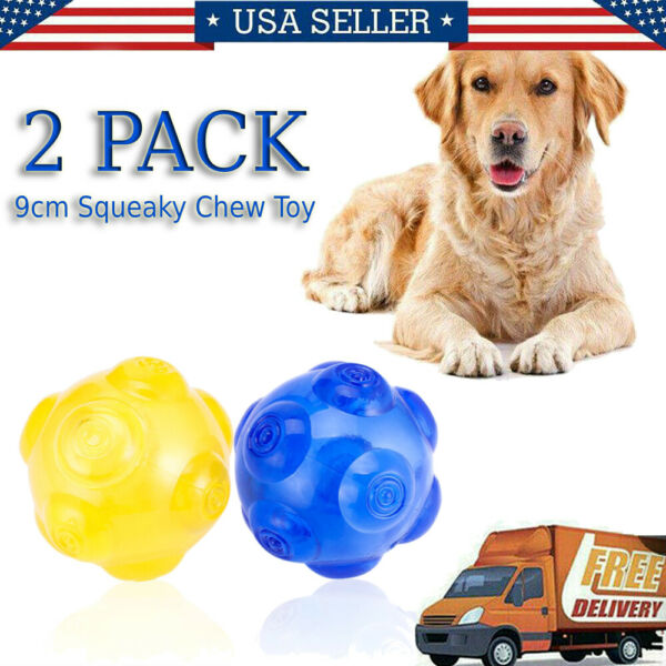 2pcs Puppy Pet Dog Tough Treat Training Chew Squeaky Giggle Ball Activity Toy US $5.42