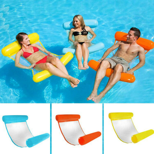 Fashion Floating Water Hammock Lounge Chair Swimming Pool Inflatable Float Rafts $10.98