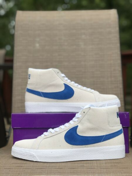 NEW Nike SB Zoom Blazer Mid White Cerulean 864349-104 Mens Sneakers