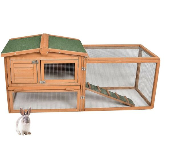 Pet Cage Rabbit House Chicken Coop Deluxe Small Animal Shed Wood Hutch 60B Ramp