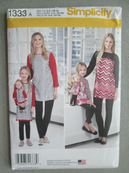Simplicity Pattern 1333 A Tunics Knit Leggings for Girls Misses Doll 3-8 XS-XL