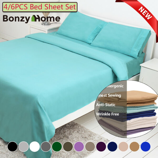 46 Piece Bed Sheet Set Deep Pocket Sheets Queen King Full Size Bed Fitted Sheet