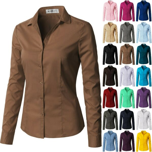 Womens Basic Long Sleeve SLIM FIT Button Down Shirt V-Neck Collared 068 $9.50