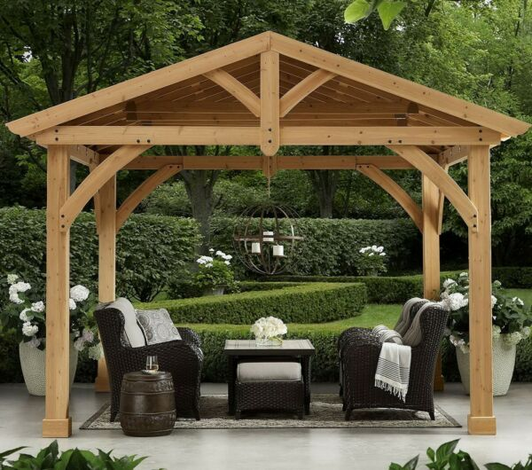 Huge Outdoor Gazebo Pavilion Shelter Cedar Wood with Metal Roof 13#x27; x 11#x27;