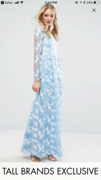 True Decadence Tall Premium 3D Lace Applique Maxi Dress Light Blue. Gown. Formal