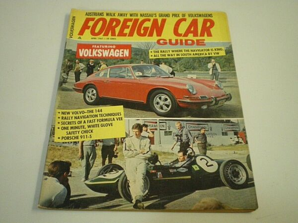 FOREIGN CAR GUIDE Magazine APRIL 1967 Porsche 911 S Drag Racing VW BUGS Beetles