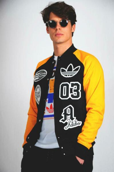 Adidas College Logo Track Top Pilot Jacket Yellow Black Biker PATCHED BADGE GBP 69.99