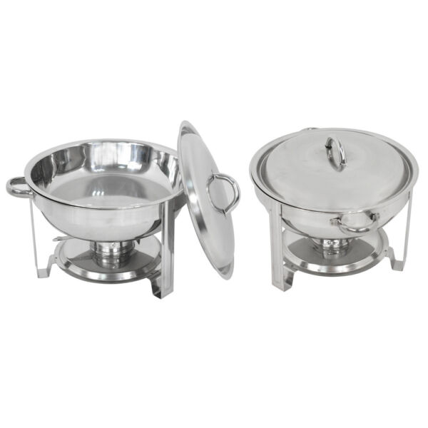 Round Catering Stainless Steel Chafer 2 Pack Buffet Chafing Dish 5Qt Party Pack