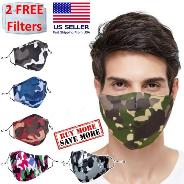 Reusable Washable Camouflage Camo Face Mask Covering With 2 PM2.5 Carbon Filters