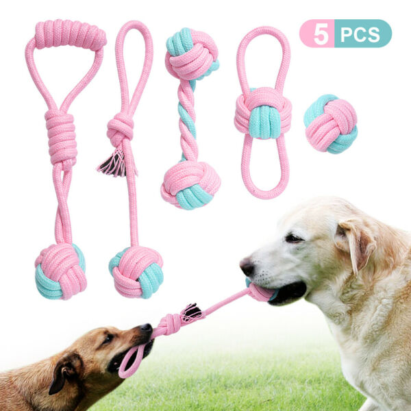 5pcs Dog Chew Toys Indestructible Cotton Rope Tug Interactive Ball Teeth Clean $17.99