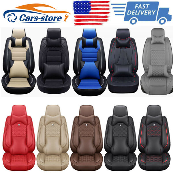 Universal Top PU Leather Car Seat Cover Luxury 5-Sit Front&Rear Car SUV Interior $79.99