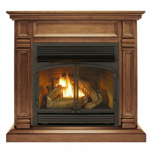 Duluth Forge Dual Fuel Ventless Gas Fireplace With Mantel 32K BTU T Stat Control