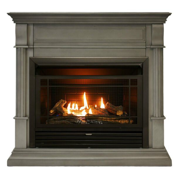 Duluth Forge Dual Fuel Ventless Gas Fireplace With Mantel 26K BTU T Stat Control