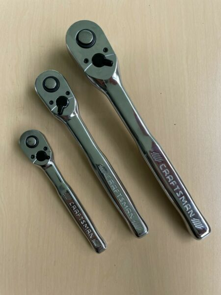 NEW Craftsman 3pc 72T Hand Ratchet Set 1 4 3 8 1 2 Drive 72 tooth Quick Release