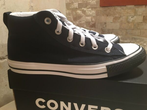Men's Converse Chuck Taylor Street Mid Black Toe Casual Sneakers.