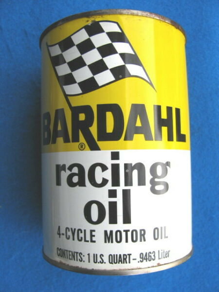 Vintage empty BARDAHL RACING OIL Quart OIL CAN CHECKERED FLAG