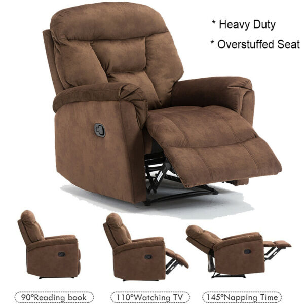 Overstuffted Recliner Sofa Chair Armrest Comfortable Footrest Velvet Lounge $225.99