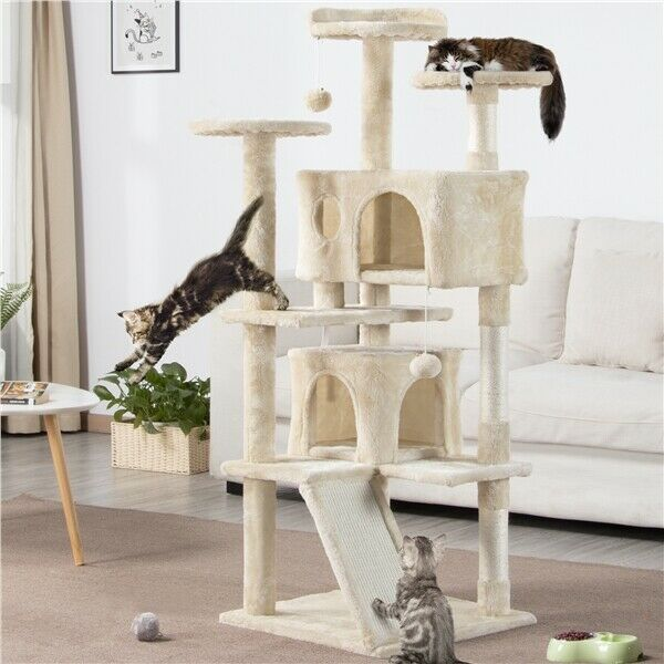 55quot; Cat Tree Condo Pet Furniture Activity Tower Play House with Perches Platform $54.99