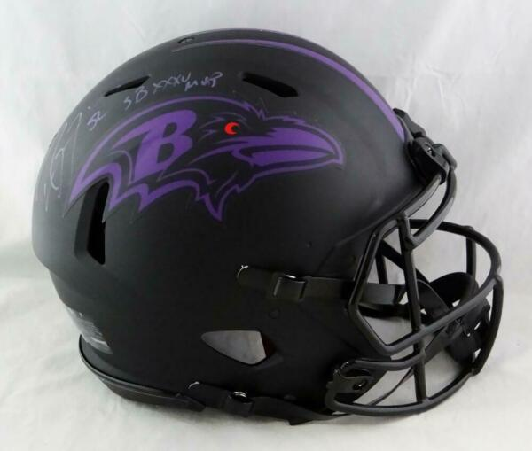 Ray Lewis Signed Ravens FS Speed Eclipse Authentic Helmet wSB MVP-Beckett Auth