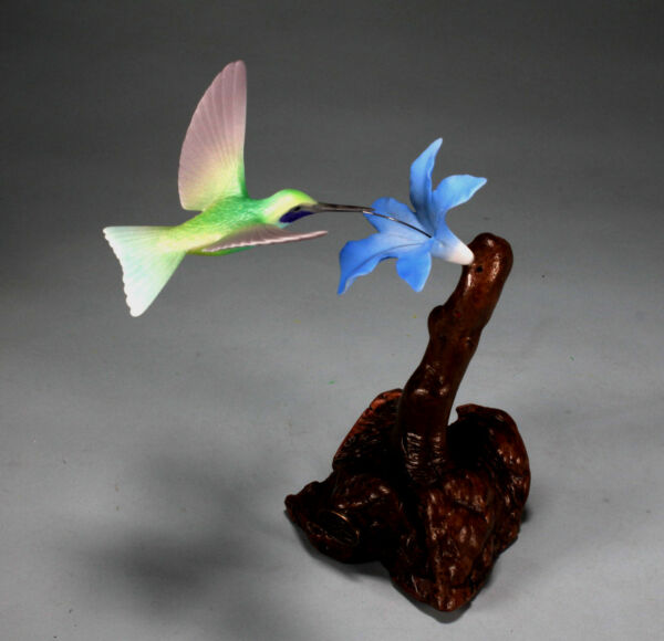 VIOLETEAR HUMMINGBIRD by JOHN PERRY 7in tall Blue flower sculpture New direct