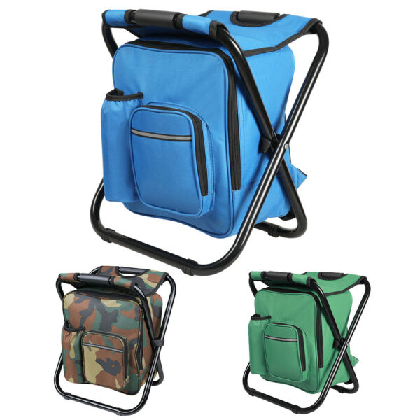 Folding Fishing Stool Insulated Cooler Bag Backpack Chair Picnic Camping Hiking