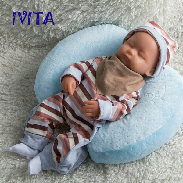 IVITA 38cm Lifelike Eyes Closed Lovely Baby Girl Silicone Reborn Baby Doll Toys