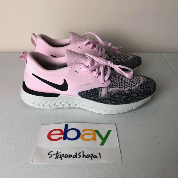 Nike Odyssey React 2 Flyknit Size 6.5Womens Pink Black Running Shoes AH1016-601