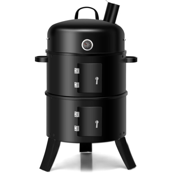 3 in 1 Portable Round Charcoal Smoker Vertical BBQ Grill Built in Thermometer