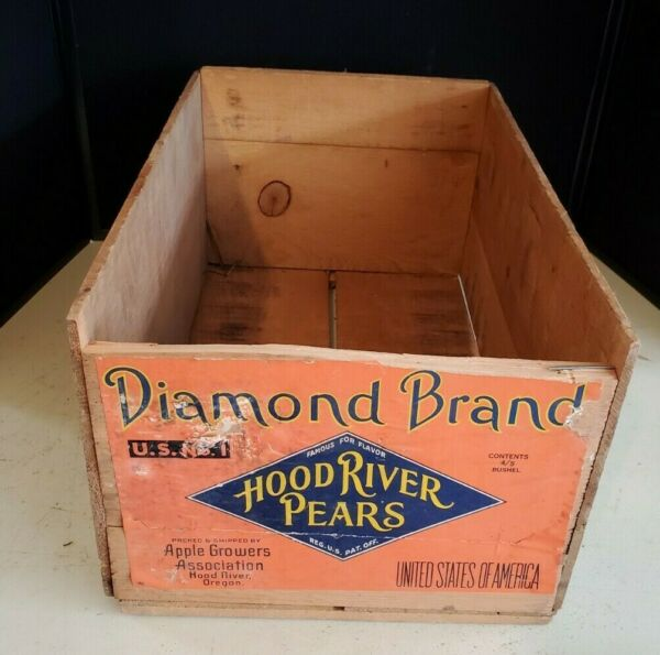 Vintage Wood Crate Box Advertising Diamond Brand Hood River Pears 19quot; x 12quot; x 9quot;