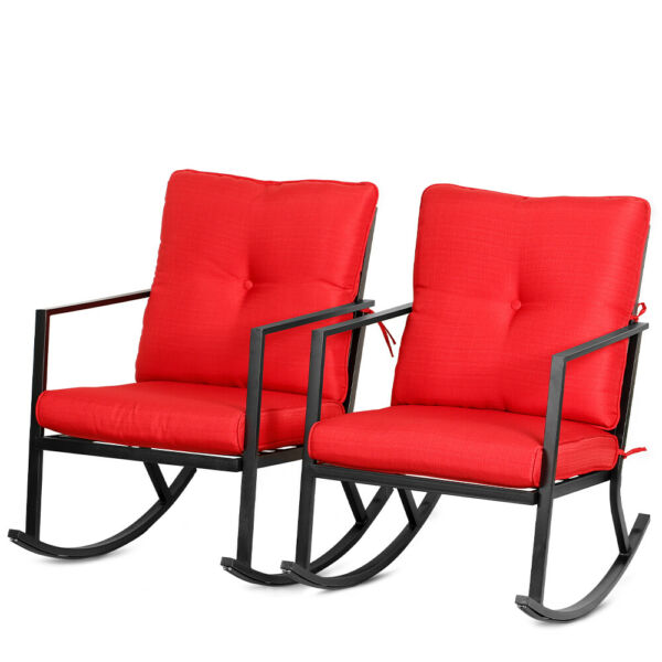 Bali Outdoor 2PCS Modern Outdoor Patio Rocking Chairs Furniture Thick Cushions $149.90