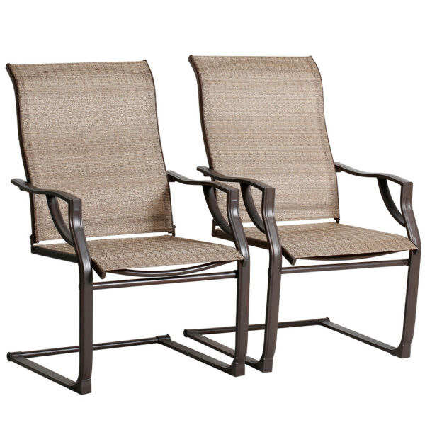 Bali Outdoor All Weather Spring Motion Teslin Patio Dining Chairs Set of 2 PCS