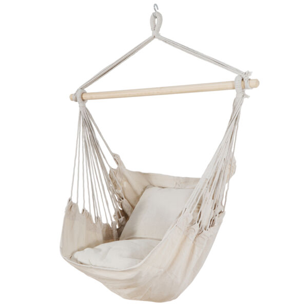 Beige Hammock Chair Swing Hanging Rope Net Chair Porch Patio with 2 Cushions $27.99