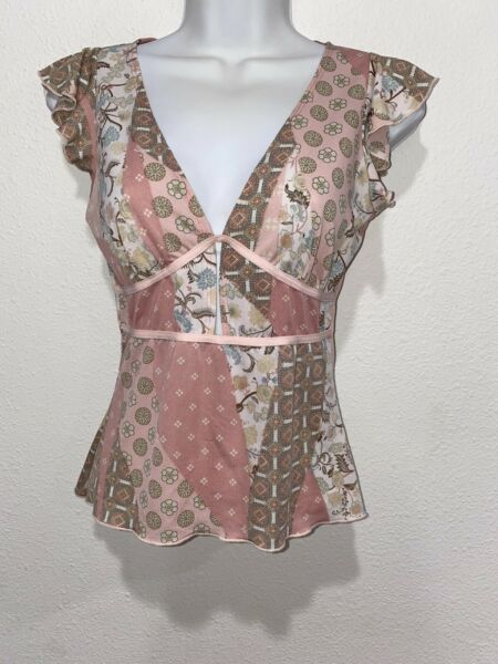 Vintage 90s  Usa Baby Doll Pink Patterned Fitted Top Small Grunge Charmed